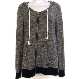 Roxy Boat Neck Gray Full Zip Hood Sweater Jacket